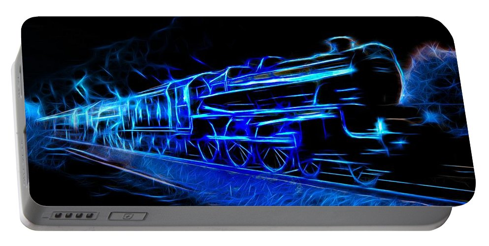 Steam Train Portable Battery Charger featuring the photograph Night Train To Romance by Aaron Berg