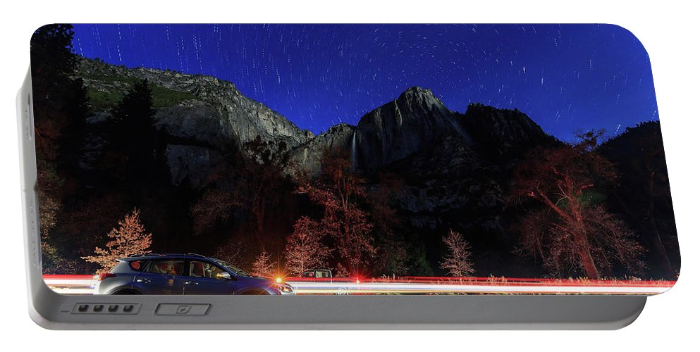 Nps Portable Battery Charger featuring the photograph Night View Of The Upper And Lower Yosemite Fall by Chon Kit Leong