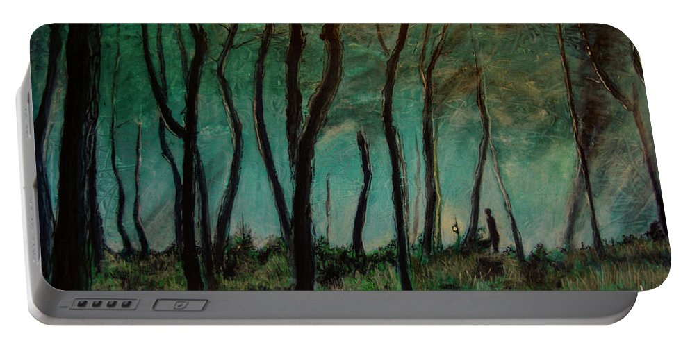 Landscape Portable Battery Charger featuring the painting Night Walk by Ron Richard Baviello