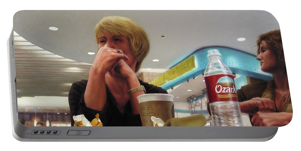 Restaurant Portable Battery Charger featuring the painting Nighthawks At The Foodcourt by James W Johnson