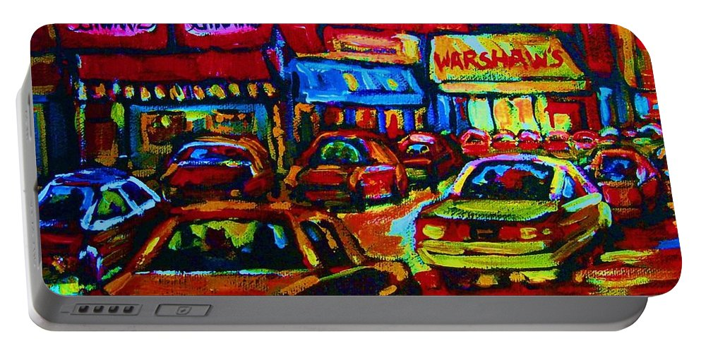 Schwartzs And Warshaws Portable Battery Charger featuring the painting Nightlights On Main Street by Carole Spandau