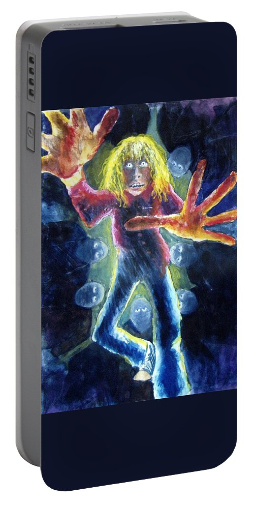 Nightmare Portable Battery Charger featuring the painting Nightmare by Nancy Mueller