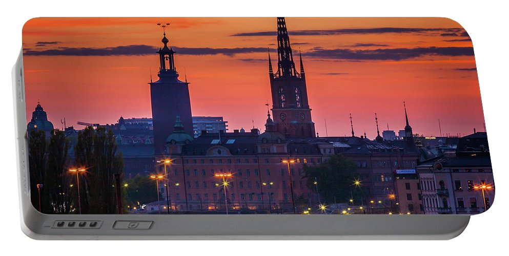Europa Portable Battery Charger featuring the photograph Nightsky Over Stockholm by Inge Johnsson