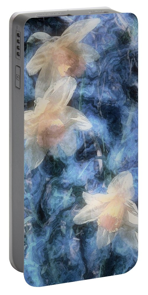 Daffodils Portable Battery Charger featuring the painting Nighttime Narcissus by RC DeWinter