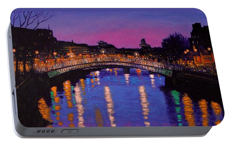Dublin Portable Battery Charger featuring the painting Nighttown Ha Penny Bridge Dublin by John Nolan