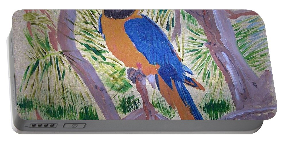 Bird Portable Battery Charger featuring the painting Nikki by Richard Le Page