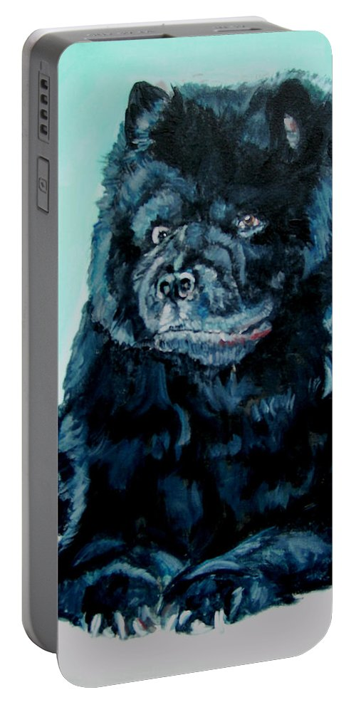 Dog Portable Battery Charger featuring the painting Nikki The Chow by Bryan Bustard