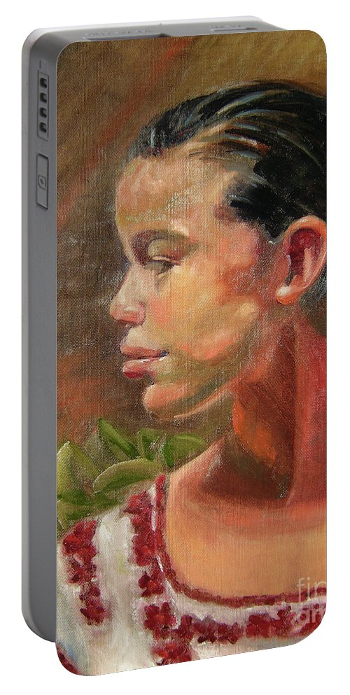 Mexico Portable Battery Charger featuring the painting Nina de Trenza by Lilibeth Andre
