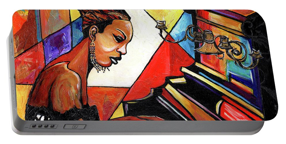 Everett Spruill Portable Battery Charger featuring the mixed media Nina Simone by Everett Spruill