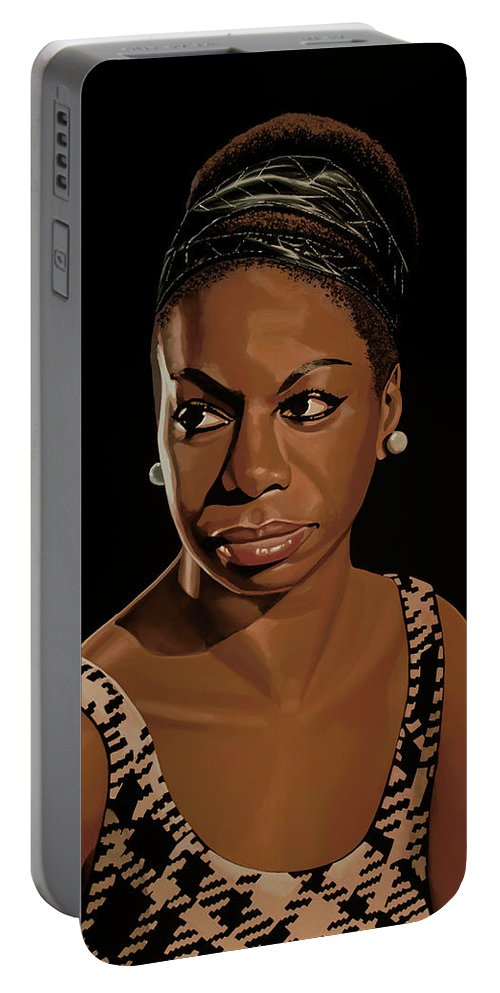 Nina Simone Portable Battery Charger featuring the painting Nina Simone Painting 2 by Paul Meijering