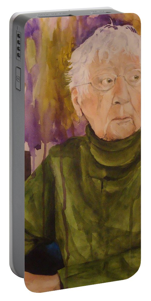 Portrait Portable Battery Charger featuring the painting Ninety Years Young by Jean Blackmer