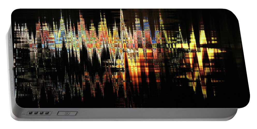 Black Portable Battery Charger featuring the digital art Nite Lite by Michael L McKinley