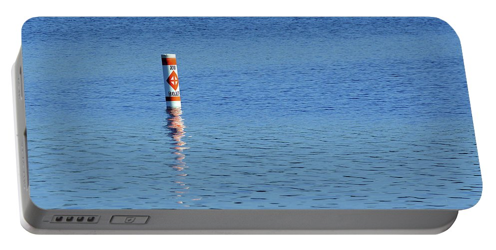 Blue Portable Battery Charger featuring the photograph No Boats by Robin Clifton