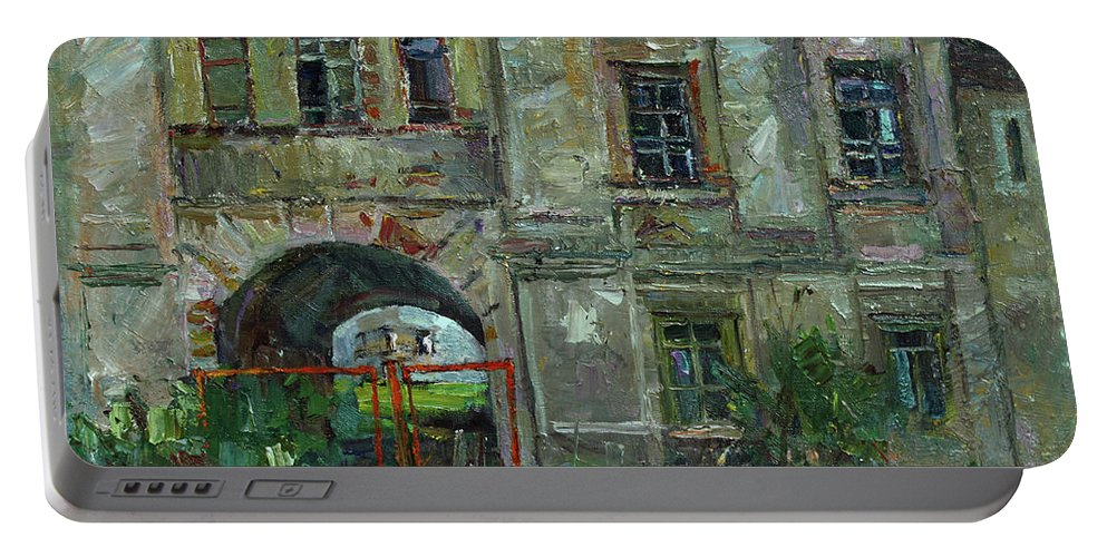 Plein Air Portable Battery Charger featuring the painting No Entrance by Juliya Zhukova