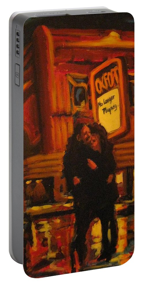 Wet Streets Portable Battery Charger featuring the painting No Longer Playing by John Malone