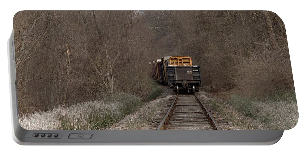 Train Portable Battery Charger featuring the photograph No Looking Back by Beth Bonham