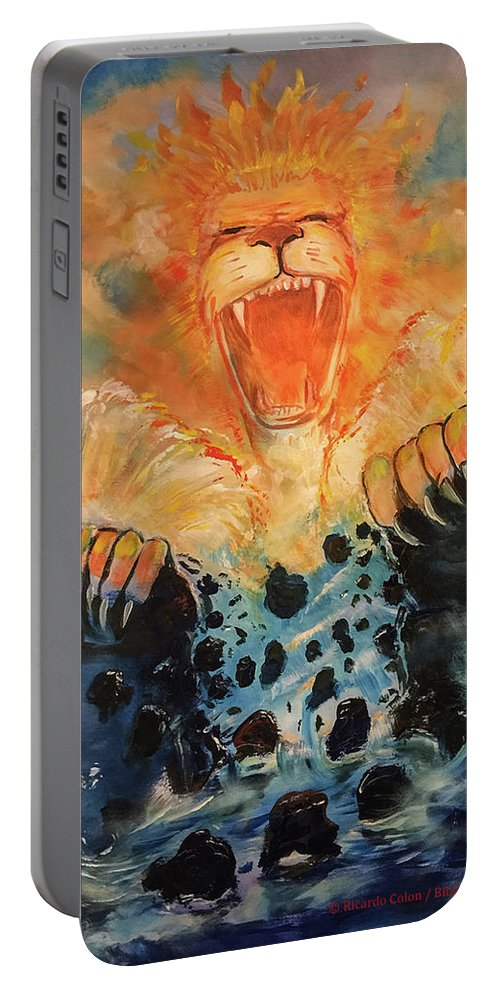 Lion Portable Battery Charger featuring the painting No More Walls by Ricardo Colon
