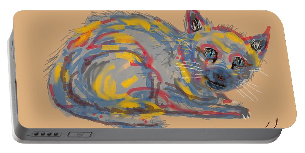Homeless Cat Modern Art Colors Portable Battery Charger featuring the digital art No Name Cat by David R Keith