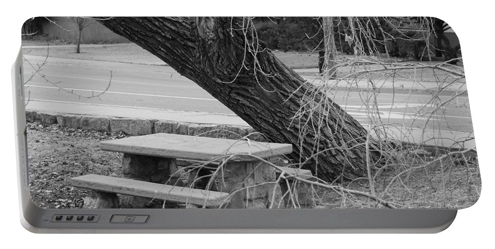 Trees Portable Battery Charger featuring the photograph No One Sits Here In Black And White by Rob Hans