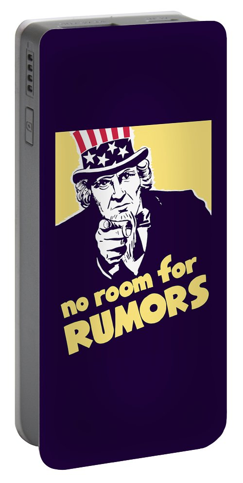 Ww2 Portable Battery Charger featuring the painting No Room For Rumors - Uncle Sam by War Is Hell Store