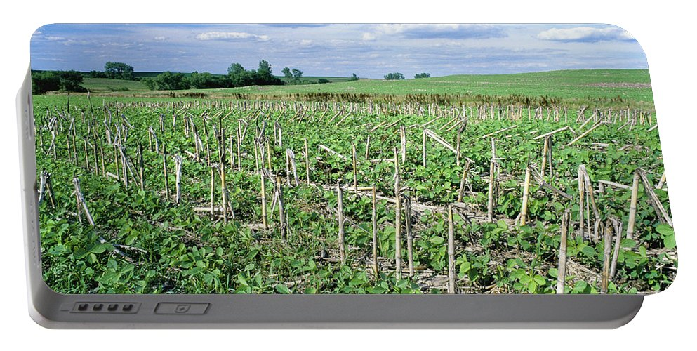 United States Portable Battery Charger featuring the photograph No-till Soybean Field by Inga Spence