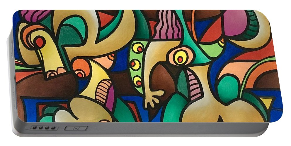 Abstract Work Portable Battery Charger featuring the painting No Title by Giovanni Pandolfi
