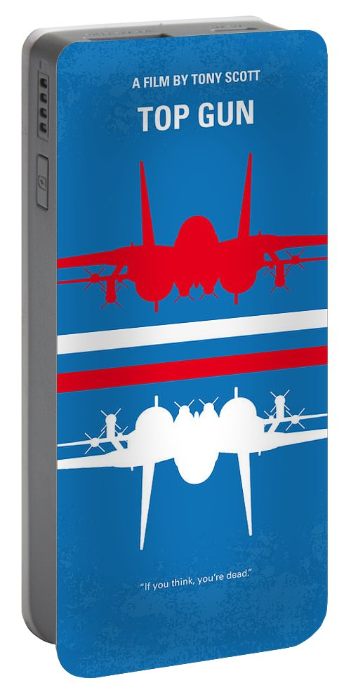 Top Portable Battery Charger featuring the digital art No128 My Top Gun Minimal Movie Poster by Chungkong Art
