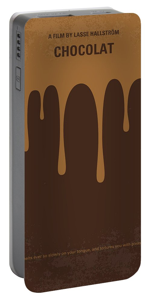 Chocolat Portable Battery Charger featuring the digital art No567 My Chocolat Minimal Movie Poster by Chungkong Art