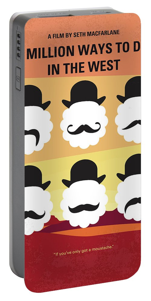 Million Portable Battery Charger featuring the digital art No890 My A Million Ways To Die In The West Minimal Movie Poster by Chungkong Art