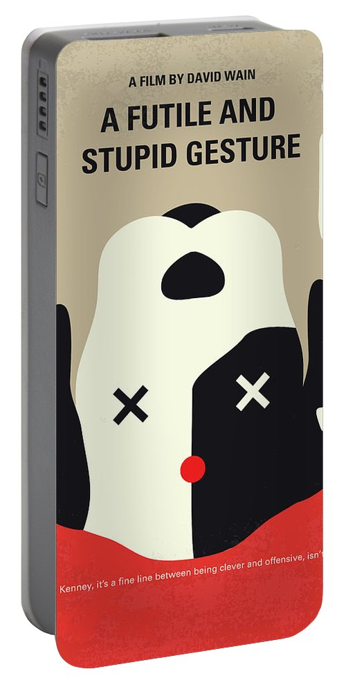 Futile Portable Battery Charger featuring the digital art No893 My A Futile And Stupid Gesture Minimal Movie Poster by Chungkong Art