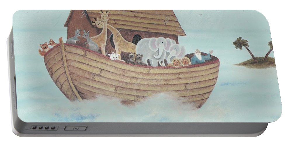 Noah Portable Battery Charger featuring the painting Noah's Ark by Suzn Art Memorial