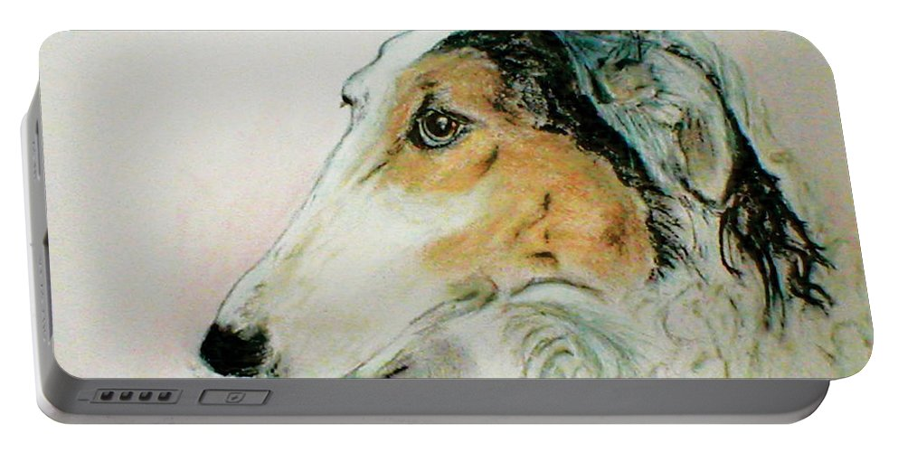 Borzoi Portable Battery Charger featuring the drawing Noble Scrutiny by Cori Solomon