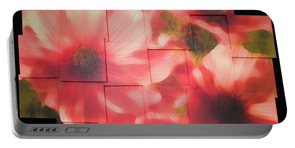 Flower Portable Battery Charger featuring the sculpture Nocturnal Pinks Photo Sculpture by Michael Bessler