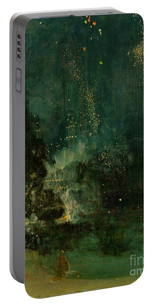 Nocturne Portable Battery Charger featuring the painting Nocturne In Black And Gold - The Falling Rocket by James Abbott McNeill Whistler