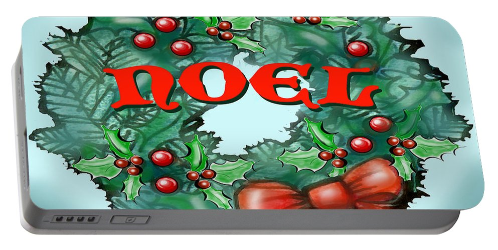 Noel Portable Battery Charger featuring the greeting card Noel by Kevin Middleton