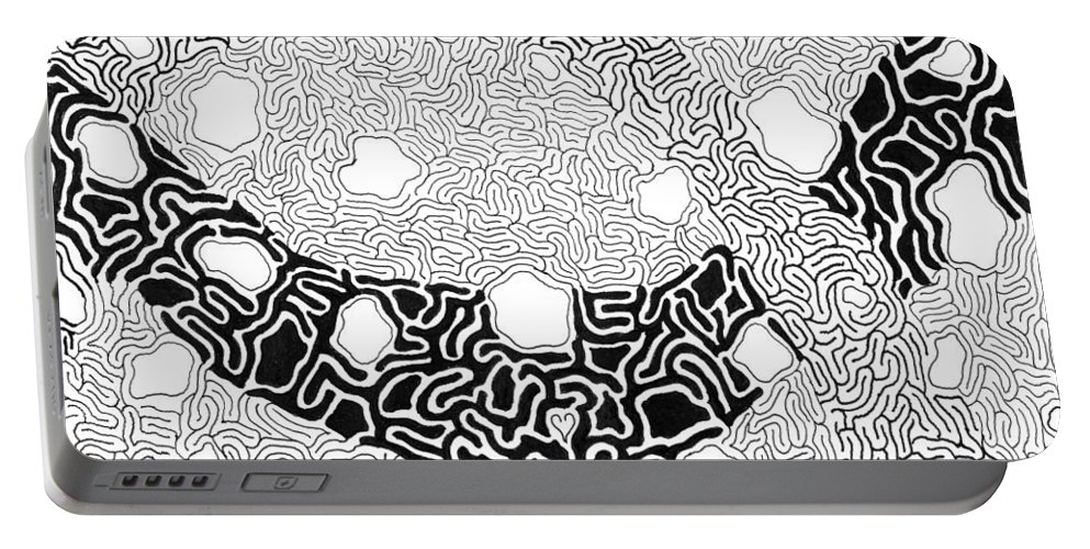Abstract Portable Battery Charger featuring the drawing Noetic by Steven Natanson