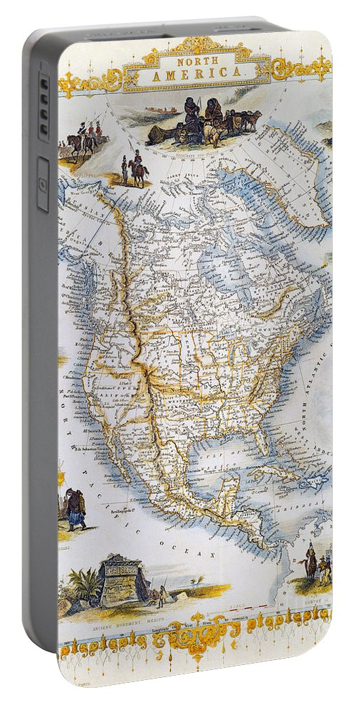 1851 Portable Battery Charger featuring the photograph North American Map, 1851 by Granger