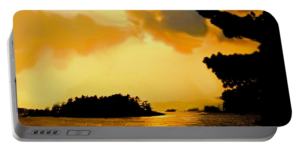 Lake Portable Battery Charger featuring the photograph North Channel Sunset by Ian MacDonald