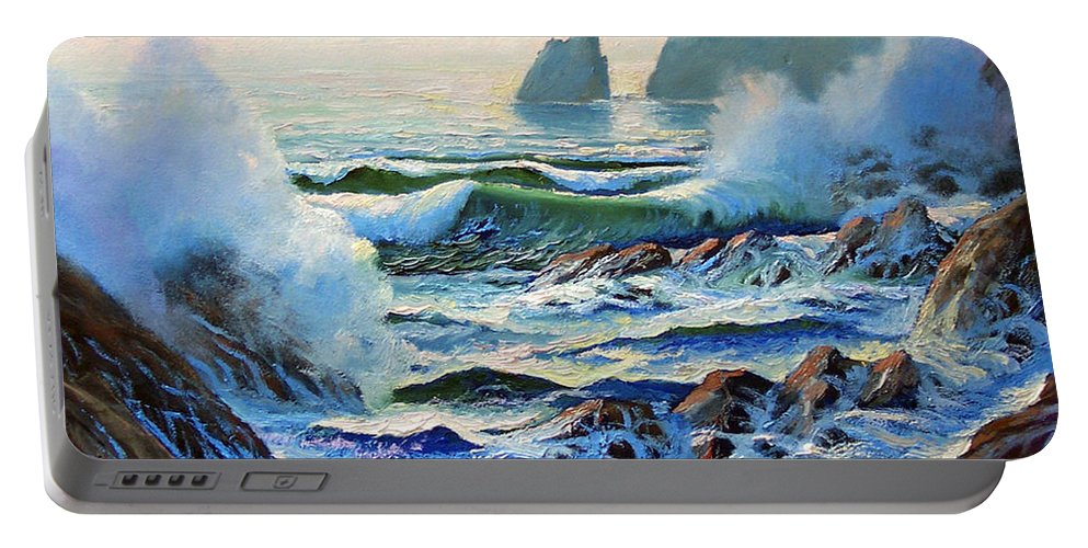 Seascape Portable Battery Charger featuring the painting North Coast Surf by Frank Wilson