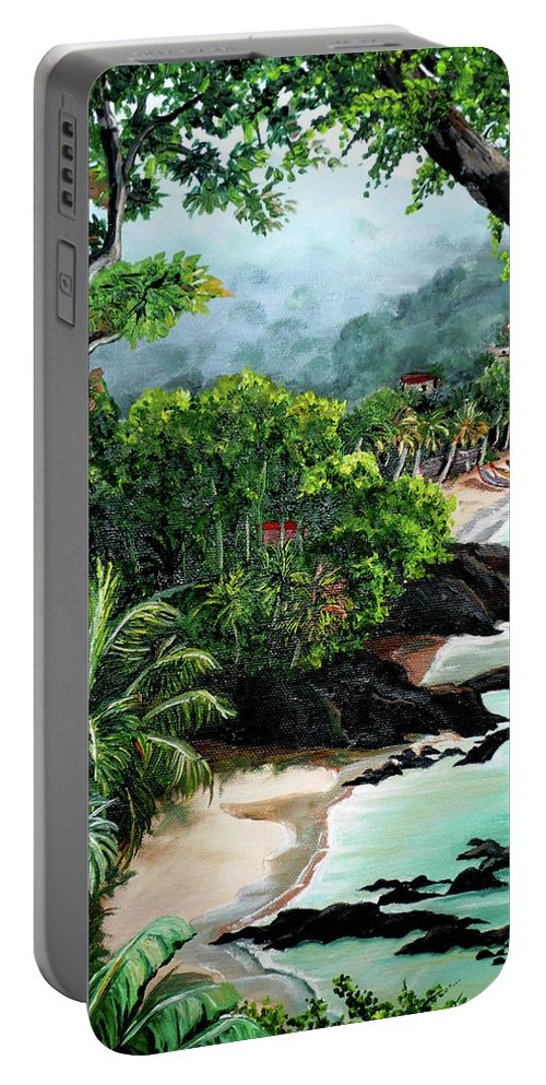 Caribbean Painting Tropical Painting Portable Battery Charger featuring the painting North Coast Tobago by Karin Dawn Kelshall- Best