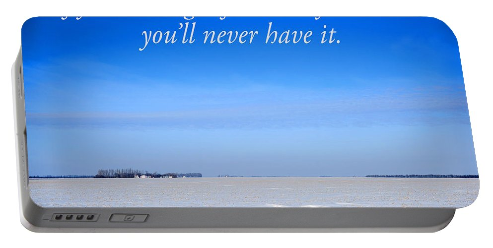 Landscape Portable Battery Charger featuring the photograph North Dakota Prairie Landscape With Inspirational Text by Donald Erickson