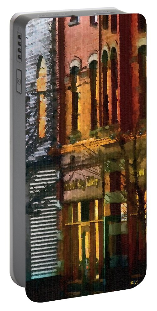 City Portable Battery Charger featuring the painting North End At Night by RC DeWinter