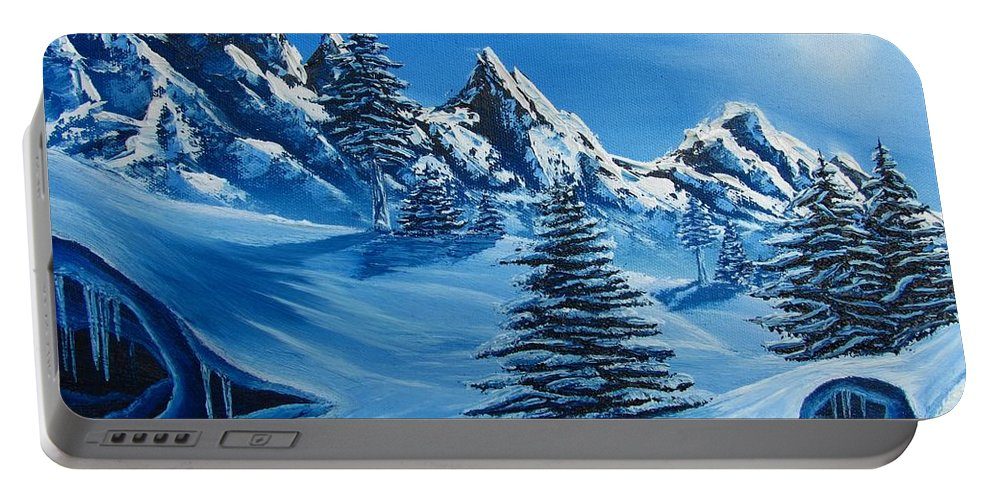 Blue Winter Landscape Canvas Prints Painting Nature Mountains Canvas Prints Blue Ice Cave Painting Prints Blue Mountains Paintings Monochromatic Blue Landscape Paintings Bizarre Paintings Strange Paintings Erie Paintings Odd Paintings Odd Art Sky Face North Face Of Winter Weird Paintings Blue Pine Trees Blue Spruce Paintings Blue Trees Blue Art Fine Art Blue Peaks Blue Range Blue Snow Blue Snowscapes Blue Winterscapes Coldscapes Blue Sky Paintings Portable Battery Charger featuring the painting North Face by Joshua Bales