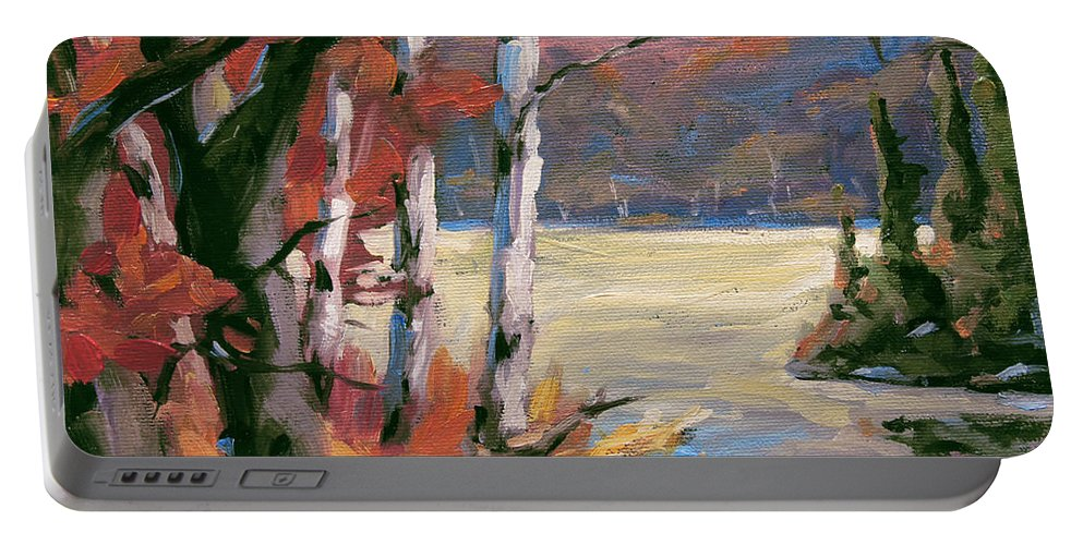 Art Portable Battery Charger featuring the painting North Lake By Prankearts by Richard T Pranke