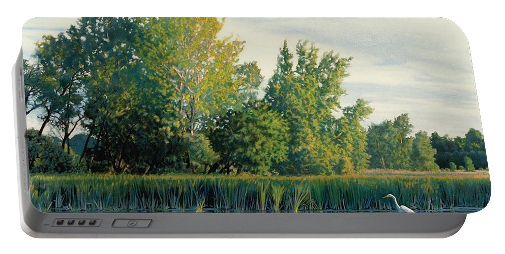 Great Egret Portable Battery Charger featuring the drawing North of the Grade-Great Egret by Bruce Morrison