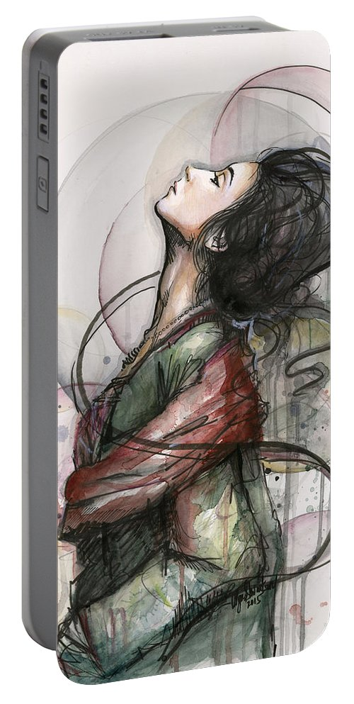 Watercolor Portable Battery Charger featuring the painting Beautiful Lady by Olga Shvartsur