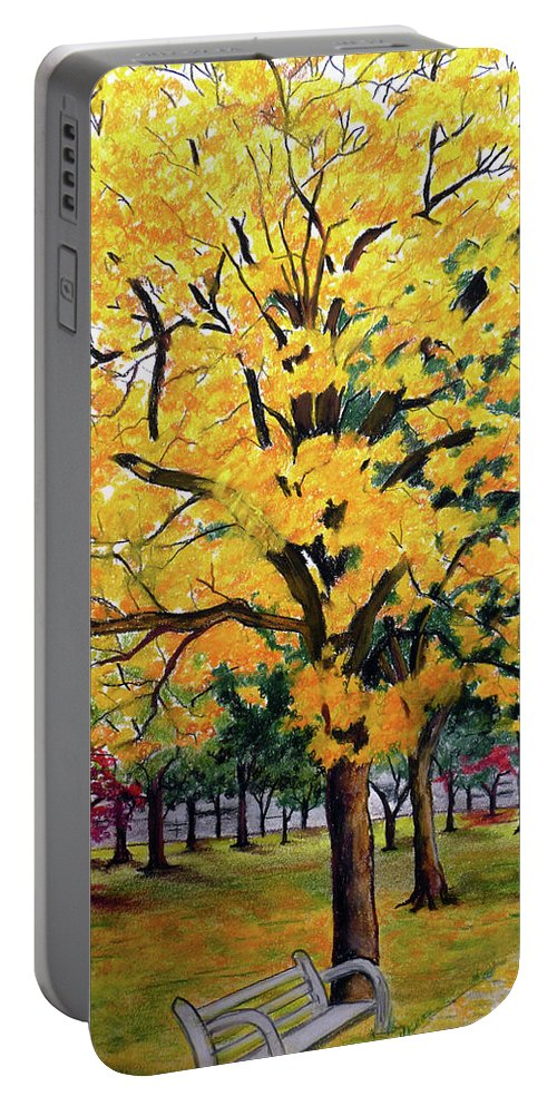 Yellow Poui Portable Battery Charger featuring the pastel North Savannah Poui by Karin Dawn Kelshall- Best