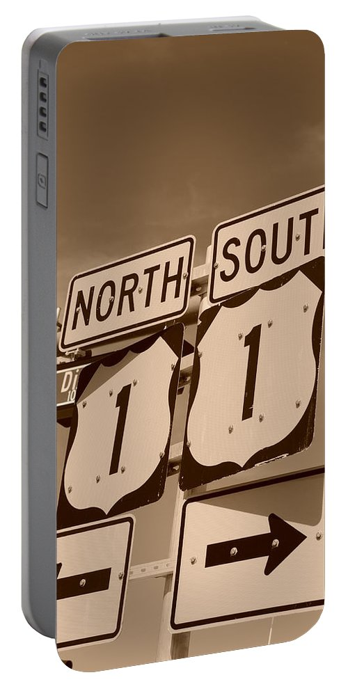 Sepia Portable Battery Charger featuring the photograph North South 1 by Rob Hans