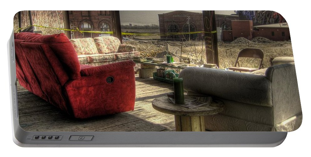 Hdr Portable Battery Charger featuring the photograph North St. Louis Porch by Jane Linders