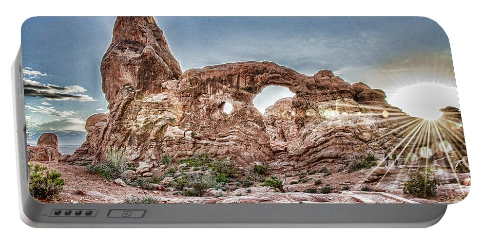 North Window Arch With Starburst Portable Battery Charger featuring the photograph North Window Sundown Star by Daniel Hebard